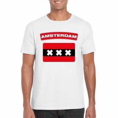 T shirt amsterdamse vlag wit heren