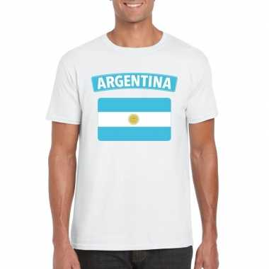 T shirt argentijnse vlag wit heren