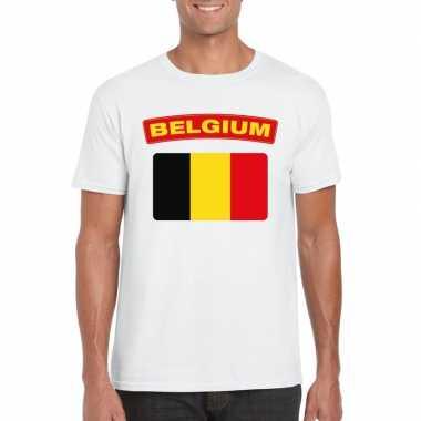 T shirt belgische vlag wit heren