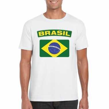 T shirt braziliaanse vlag wit heren