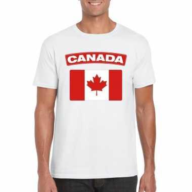 T shirt canadese vlag wit heren