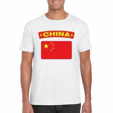 T shirt chinese vlag wit heren