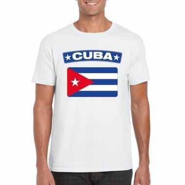 T shirt cubaanse vlag wit heren