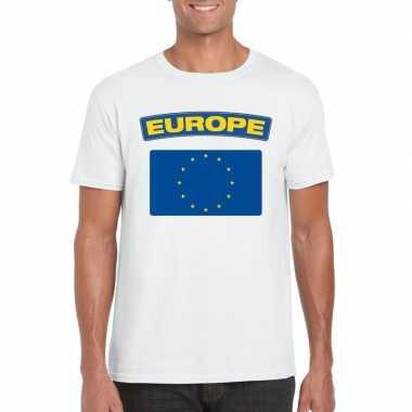 T shirt europese vlag wit heren