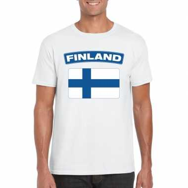 T shirt finse vlag wit heren