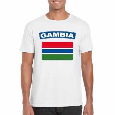 T shirt gambiaanse vlag wit heren