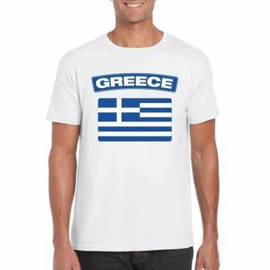 T shirt griekse vlag wit heren