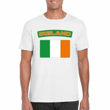 T shirt ierse vlag wit heren
