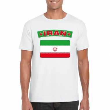 T shirt iraanse vlag wit heren