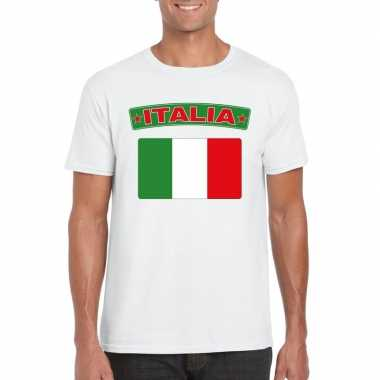 T shirt italiaanse vlag wit heren