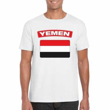 T shirt jemenitische vlag wit heren