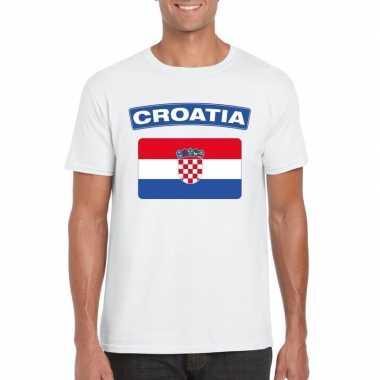 T shirt kroatische vlag wit heren
