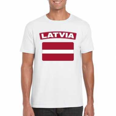 T shirt letlandse vlag wit heren
