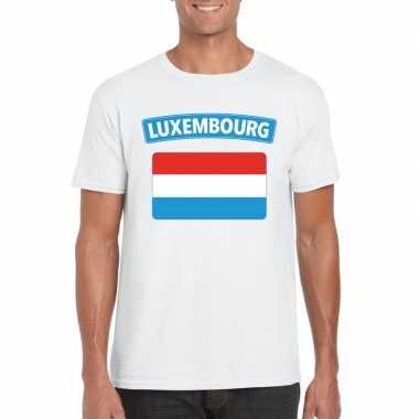 T shirt luxemburgse vlag wit heren