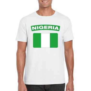 T shirt nigeriaanse vlag wit heren