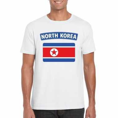 T shirt noord koreaanse vlag wit heren