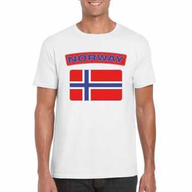 T shirt noorse vlag wit heren