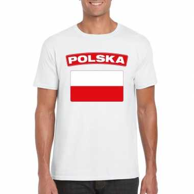 T shirt poolse vlag wit heren