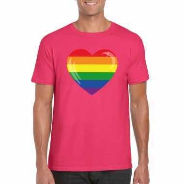 T shirt regenboog vlag hart roze heren