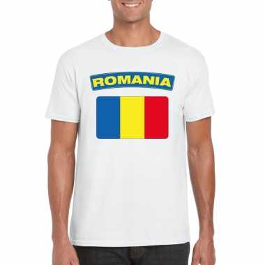 T shirt roemeense vlag wit heren