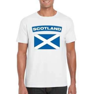 T shirt schotse vlag wit heren