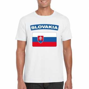 T shirt slowaakse vlag wit heren