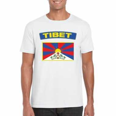 T shirt tibetaanse vlag wit heren