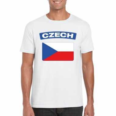 T shirt tsjechische vlag wit heren