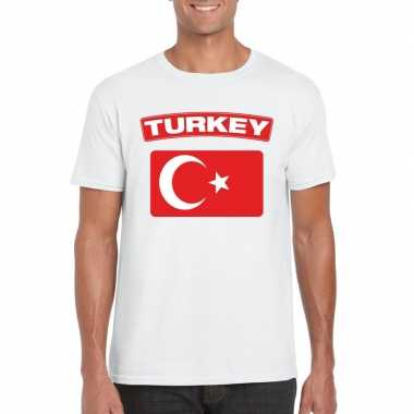 T shirt turkse vlag wit heren