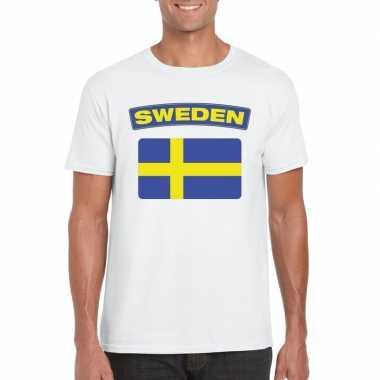 T shirt zweedse vlag wit heren