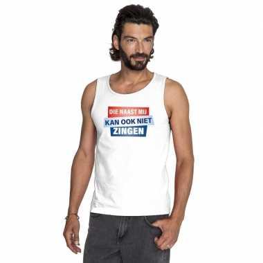 Tanktop / mouwloos kan ook niet zingen shirt wit heren