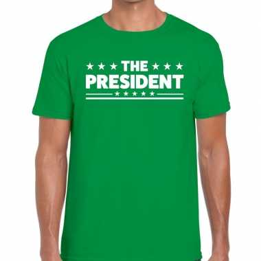 The president tekst t shirt groen heren