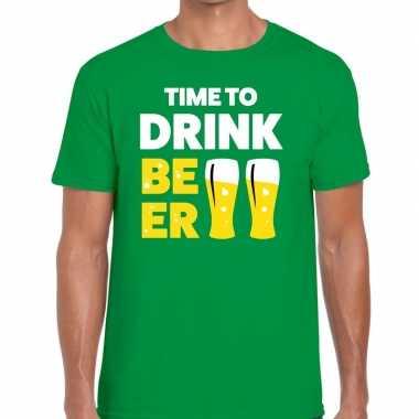 Time to drink beer tekst t shirt groen heren