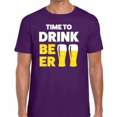Time to drink beer tekst t shirt paars heren