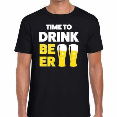 Time to drink beer tekst t shirt zwart heren