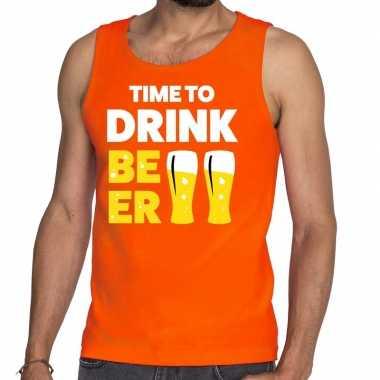 Time to drink beer tekst tanktop / mouwloos shirt oranje heren