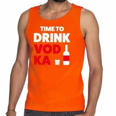 Time to drink vodka tekst tanktop / mouwloos shirt oranje heren