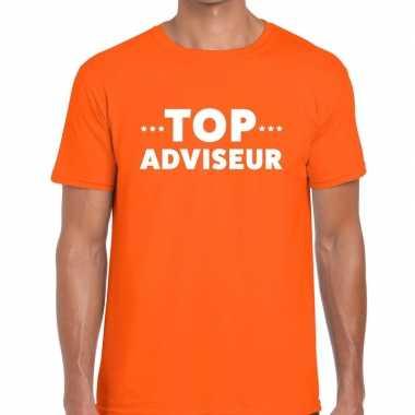 Top adviseur beurs/evenementen t shirt oranje heren