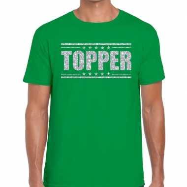 Topper t shirt groen zilveren glitters heren