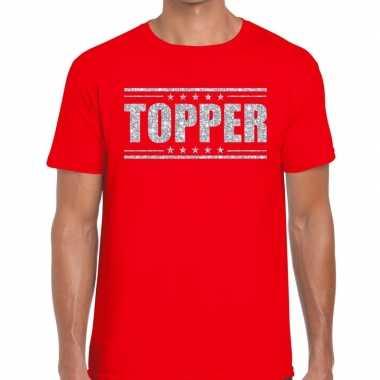 Topper t shirt rood zilveren glitters heren