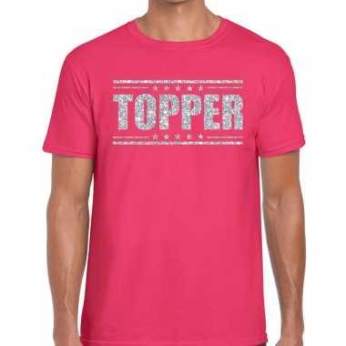 Topper t shirt roze zilveren glitters heren