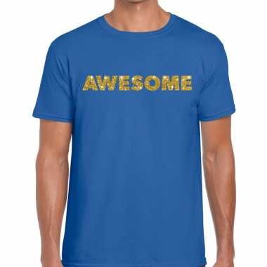 Toppers awesome goud glitter tekst t shirt blauw heren