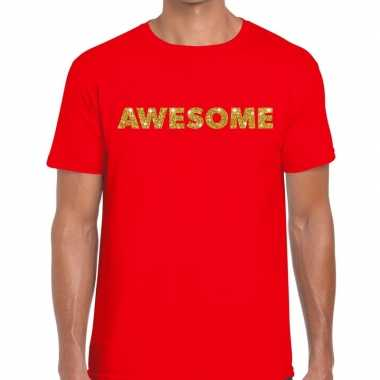 Toppers awesome goud glitter tekst t shirt rood heren