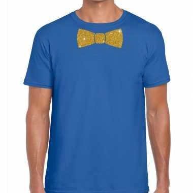 Toppers blauw fun t shirt vlinderdas glitter goud heren