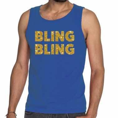 Toppers bling bling glitter tanktop / mouwloos shirt blauw heren