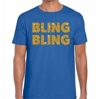 Toppers bling bling glitter tekst t shirt blauw heren