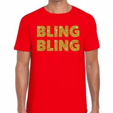 Toppers bling bling glitter tekst t shirt rood heren