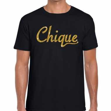 Toppers chique goud glitter tekst t shirt zwart heren