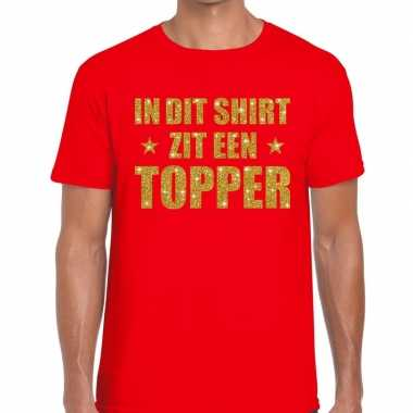 Toppers dit shirt zit een topper glitter tekst t shirt rood heren