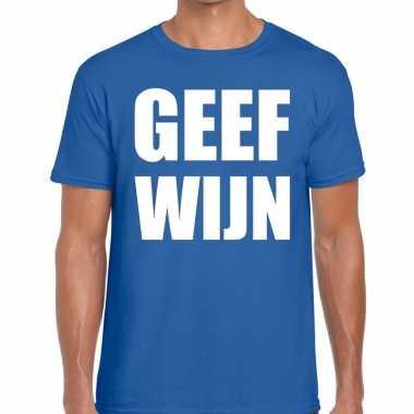 Toppers geef wijn heren t shirt blauw